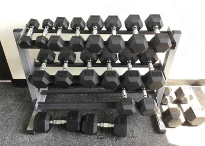 lFree weights in The Lofts at Narrow fitness center