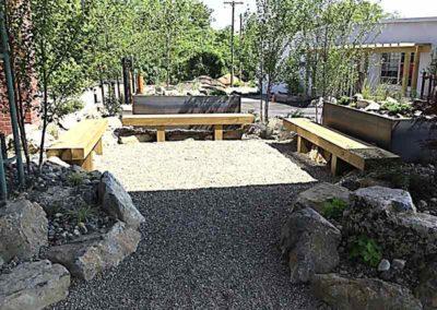 Outdoor benches at The Lofts at Narrow