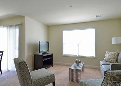 Living room space in The Reserve at Spring Pointe apartment rental in Reading