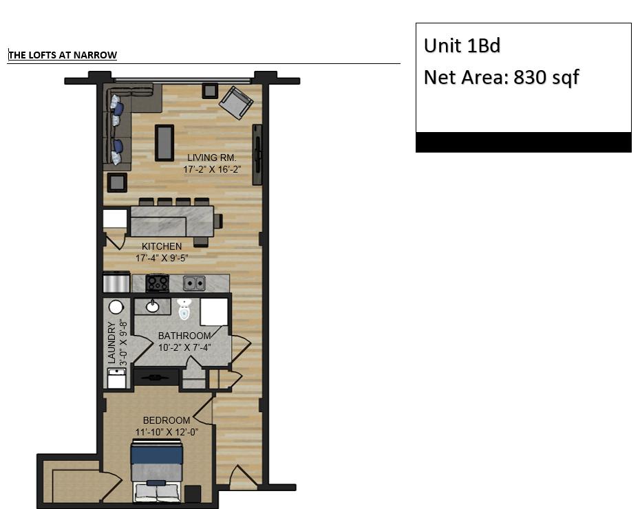 The Lofts At Narrow 1 Bedroom 830 Sq Ft
