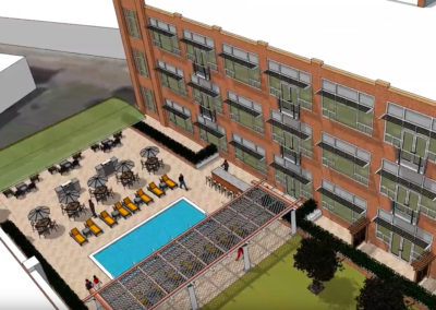 Illustration of pool and exterior of The Metropolitan apartments in Wyomissing