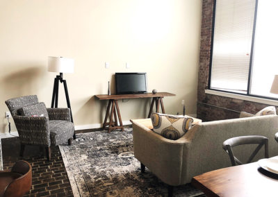 Interior living room space in West Reading apartment at The Lofts at Narrow