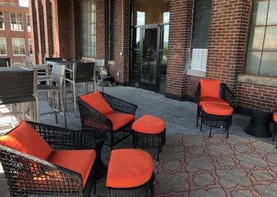 Outside lounge at West Reading apartments at The Lofts at Narrow